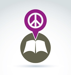 Peace concept open book with blank sheets placed vector image