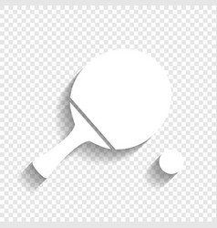 Ping pong paddle with ball white icon vector