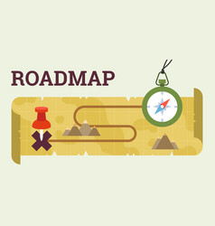 roadmap with compass and map vector image