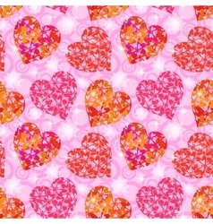 Seamless pattern hearts with butterflies vector