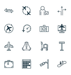 Set of 16 transportation icons includes airliner vector