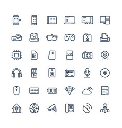 Thin line icons set with digital and vector