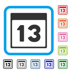 Thirteenth calendar page framed icon vector
