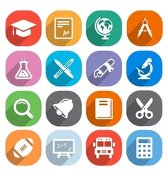 Trendy Flat education icons elements vector image