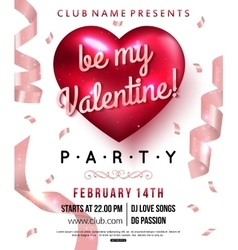 Valentines party flyer with red heart and ribbon vector