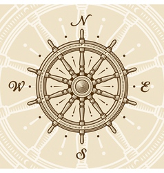 Vintage ship wheel vector image vector image
