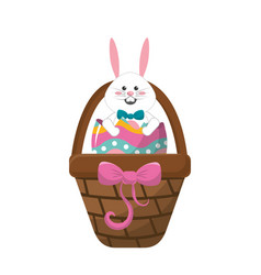 White rabbit inside egg and brown hamper vector