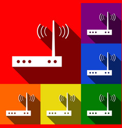 Wifi modem sign set of icons with flat vector