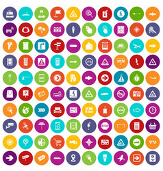 100 pointers icons set color vector