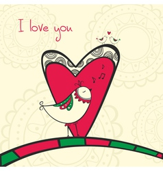 Card with singing bird in love vector