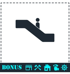 Escalator icon flat vector