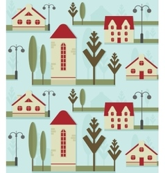 Seamless pattern element cute houses with red vector
