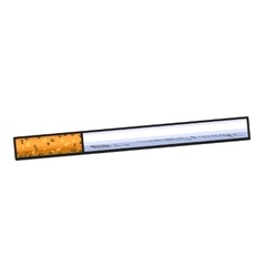 Unlit cigarette with yellow filter side view vector image