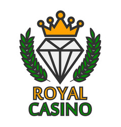Royal casino colorful logo emblem isolated on vector