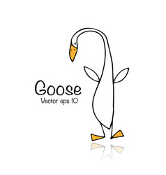 Funny goose sketch for your design vector
