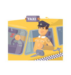 Taxi driver sitting in car vector