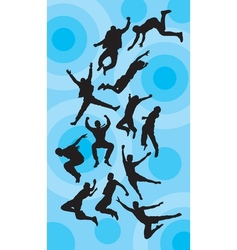 Man jumping silhouettes vector