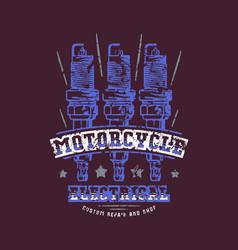 motorcycle electrical repair emblem vector image