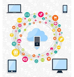 Cloud computing network concept vector