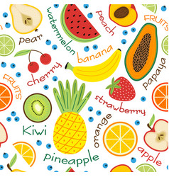 Seamless pattern with fruits and inscriptions vector
