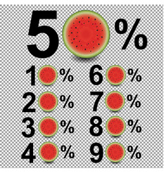 Percents with watermelon vector
