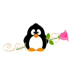 Penguin with rose vector