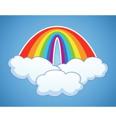 Rainbow arc and clouds vector
