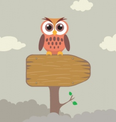 Cute owl on direction sign vector