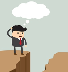 Businessman standing on the cliff and looking for vector image