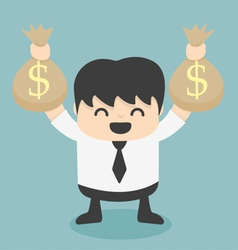 Businessman holds bags money vector