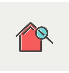House and magnifying glass thin line icon vector