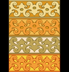 2 set of decorative borders vintage style gold vector