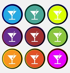 Cocktail icon sign nine multi colored round vector