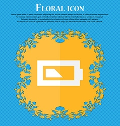 Battery half level floral flat design on a blue vector