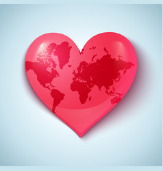 Earth heart pink vector