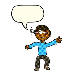 Cartoon amazed boy with speech bubble vector