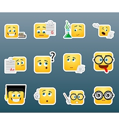 Studying smile stickers set vector