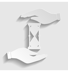Hourglass sign paper style icon vector