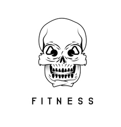 Skull with kettlebells in eyes fitness concept vector