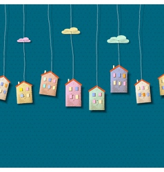 Homes made from paper on blue vector image