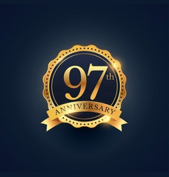 97th anniversary celebration badge label in vector image vector image