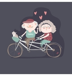 Elderly couple riding a bicycle tandem vector