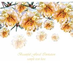 Beautiful Watercolor Cream Yellow flowers card vector image vector image