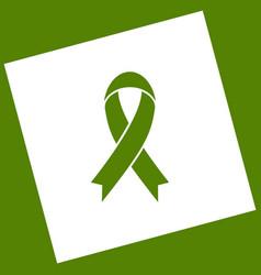 Black awareness ribbon sign white icon vector