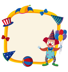 border template with happy clown and balloons vector image vector image