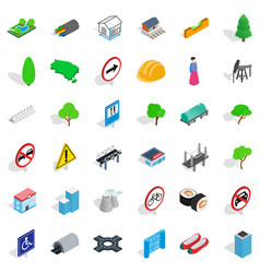 Bridge icons set isometric style vector
