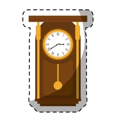 Brown pendulum clock icon image vector