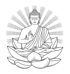 Buddha sitting on Lotus with beam of light vector image vector image