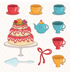 Cartoon cakecups and teapot vector