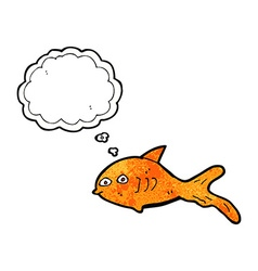 Cartoon fish with thought bubble vector